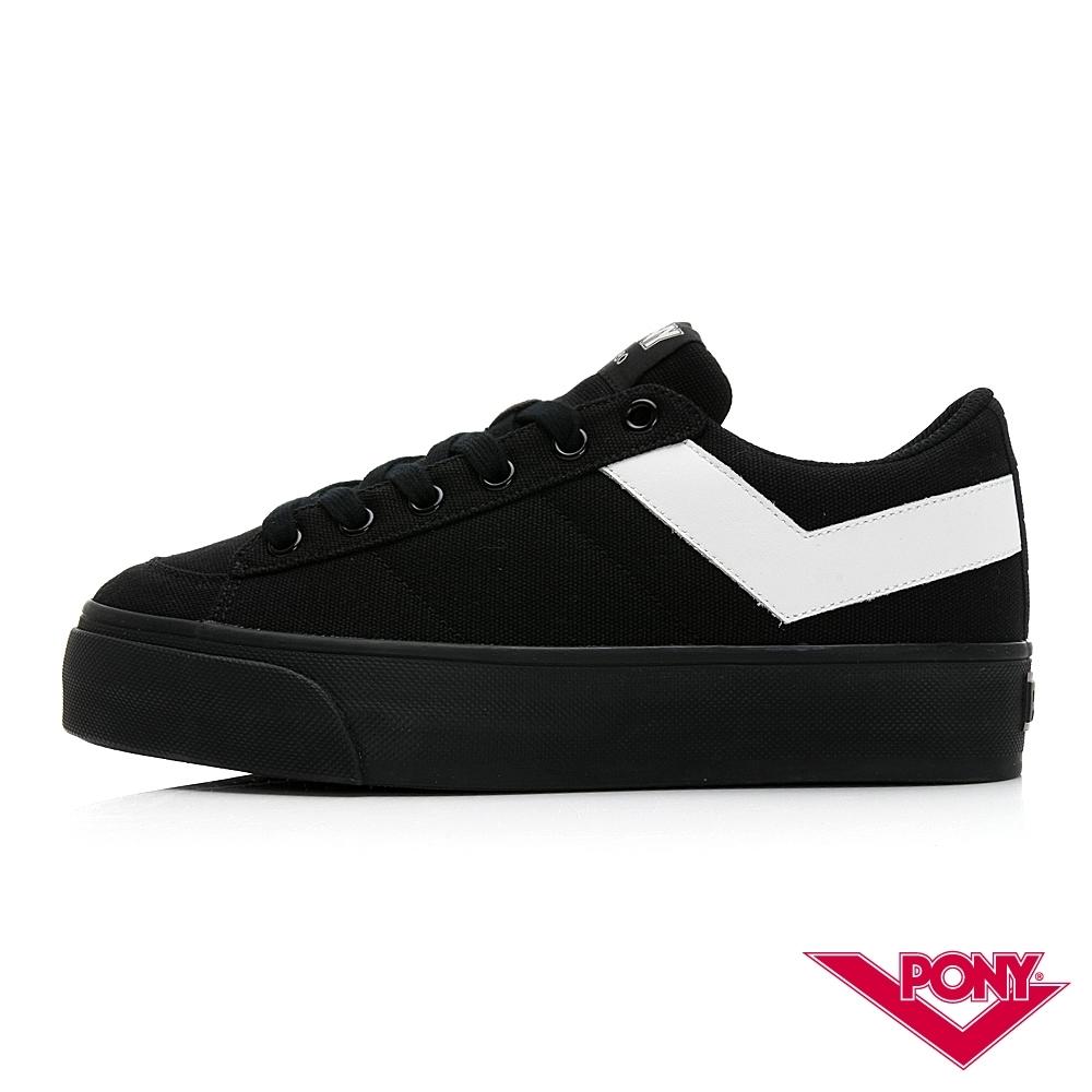 【PONY】PRO 80系列經典復古休閒鞋-女款-黑/白色