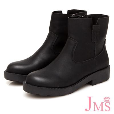 JMS-簡約車線造型側V口短靴-黑色