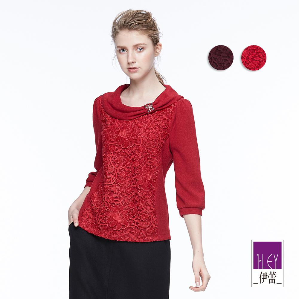 ILEY伊蕾 優雅剪接縷空蕾絲上衣(紫/紅)