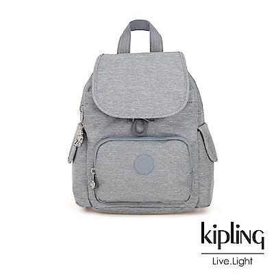 Kipling 極簡風淺灰丹寧拉鍊掀蓋後背包-CITY PACK MINI
