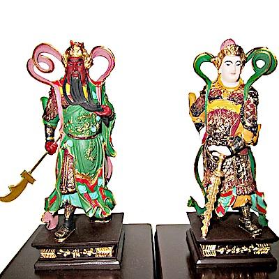養慧軒 金剛砂陶土精雕佛像 迦藍與韋駝護法(彩繪、2 尊一組)