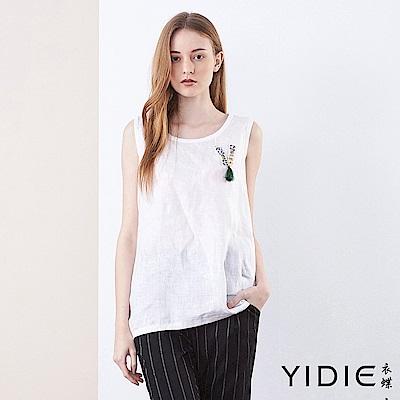 【YIDIE衣蝶】純麻素色立體鑲鑽無袖上衣