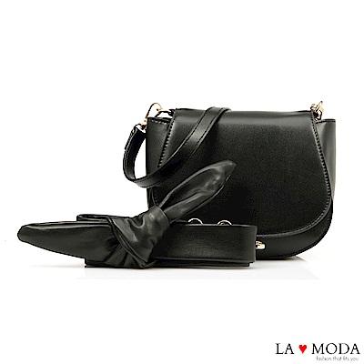 La Moda 約會不敗單品蝴蝶結裝飾背帶肩背斜背小包(黑)