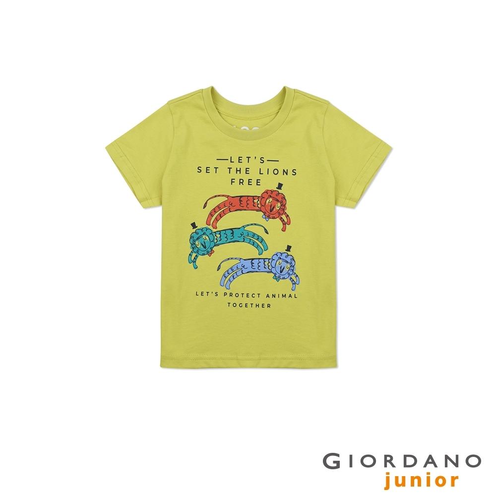 GIORDANO 童裝純棉動物印花短袖T恤-41 黃色