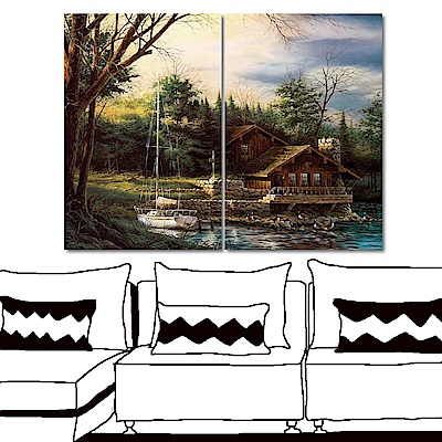 橙品油畫布 兩聯式直幅 藝術無框畫-放鬆假期40x60cm