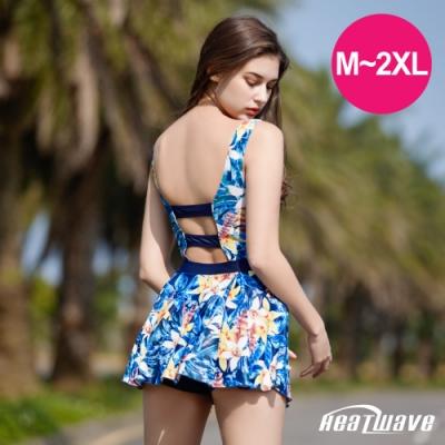 Heatwave熱浪 加大泳裝 萊克連身裙-藍洋百合(M-2XL)