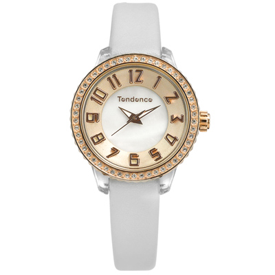 Tendence 天勢表 珍珠母貝 施華洛世奇水鑽 防水 真皮手錶-玫瑰金x灰/30mm