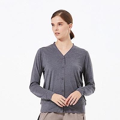 【HAKERS 】女 涼感抗菌抗UV快乾長袖罩衫-深灰