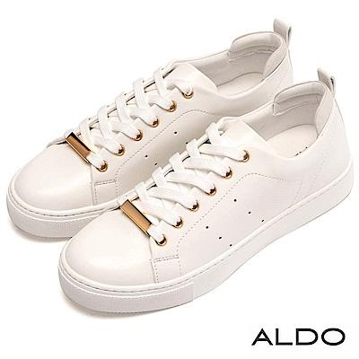 ALDO 原色幾何車線厚底綁帶休閒鞋~氣質白色