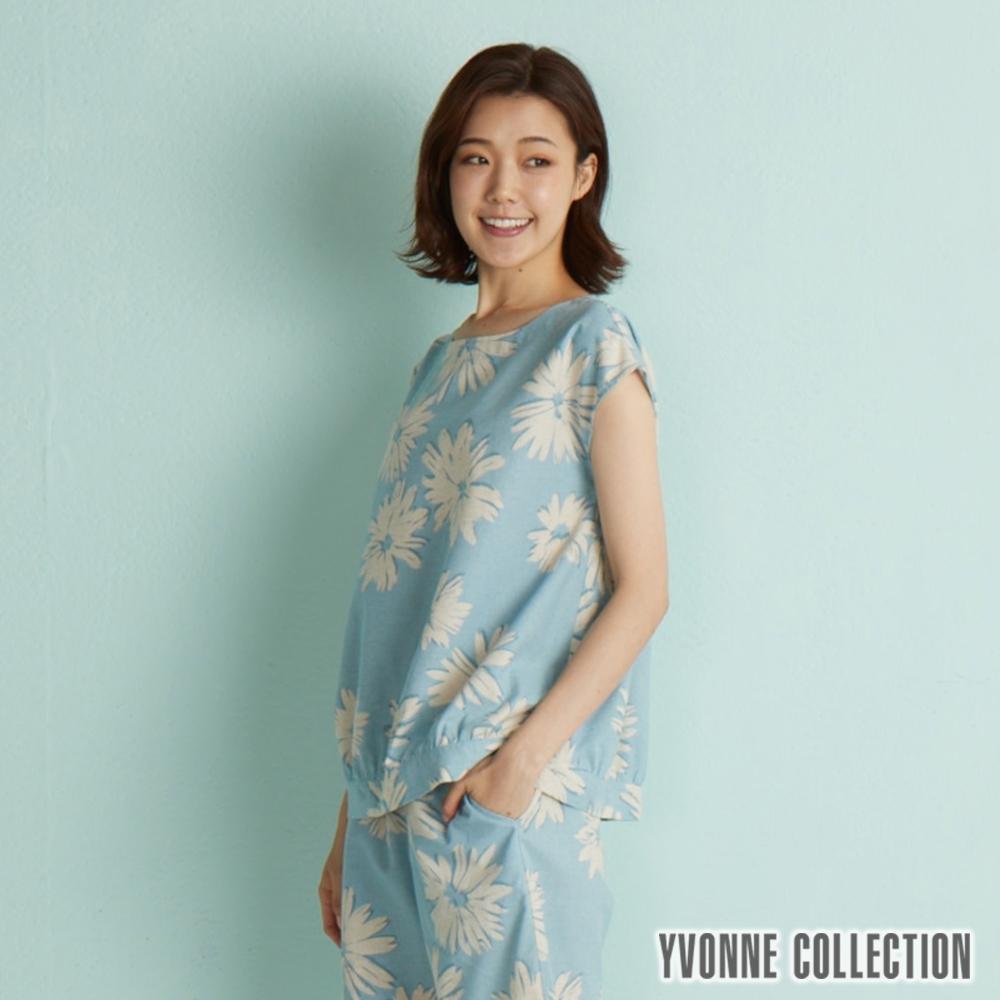 YVONNE 棉麻紮染風印花連袖上衣-灰藍