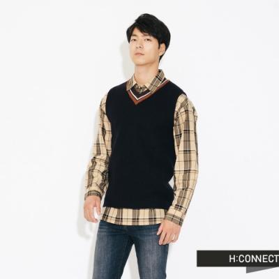 H:CONNECT 韓國品牌 男裝-V領撞色針織背心-藍