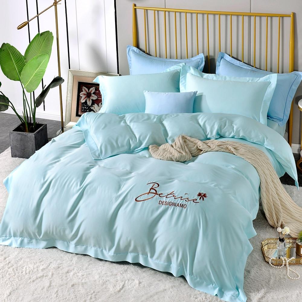 (超值加購枕套) Betrise極簡純色 抗菌天絲素色刺繡系列 超值薄被套+薄枕套床包組 (01.望著天空-雙人床包枕套三件組)