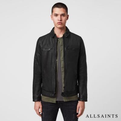 ALLSAINTS LARK 經典極簡個性風格對稱口袋皮衣夾克-黑