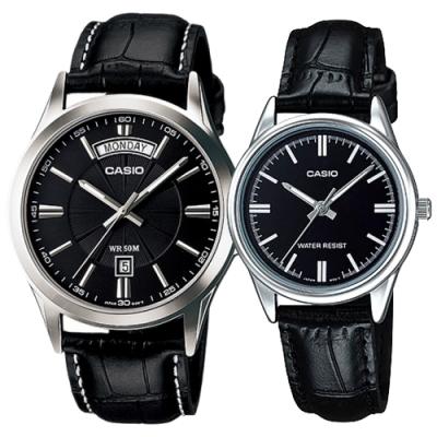 CASIO 簡約時尚經典皮帶指針對錶-黑面(MTP-1381L-1A+LTP-V005L-1A)
