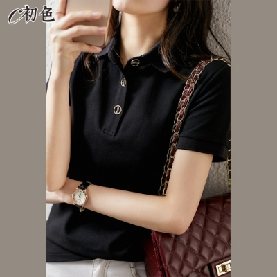 初色  純色休閒POLO衫-黑色-(M-2XL可選)