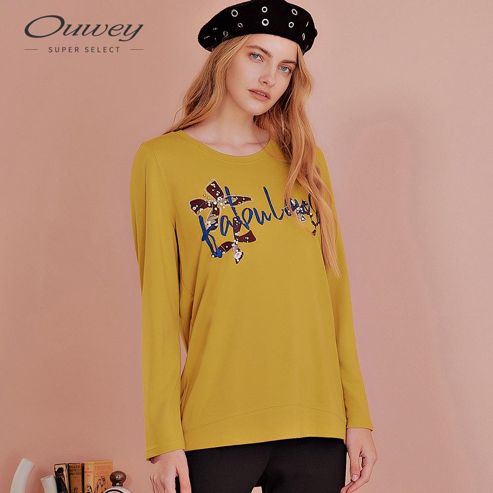 OUWEY歐薇 花朵膠印燙鑽珍珠上衣(黃)