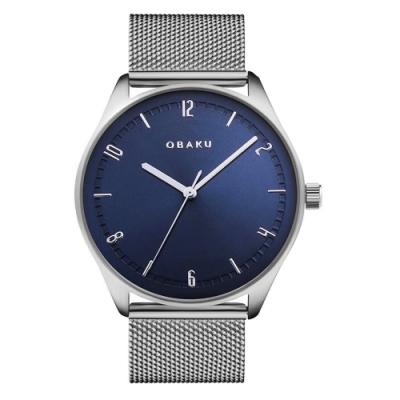 OBAKU秋日時尚氣質腕錶-銀X藍(V235GXCLMC)/38mm