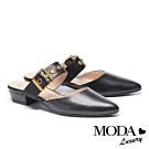拖鞋 MODA Luxury 復古懷舊大方釦寬帶穆勒低跟拖鞋-黑