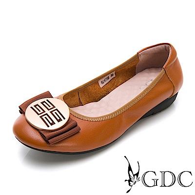 GDC-真皮摩砂釦蝴蝶結基本素面款平底鞋-棕色