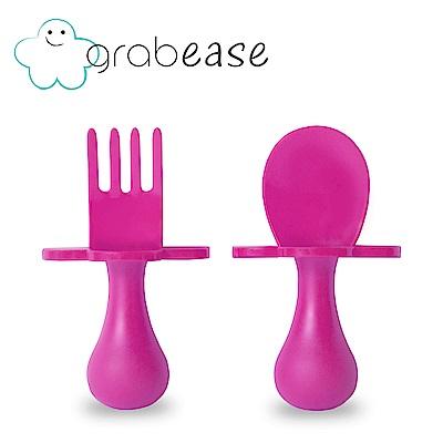 grabease 美國 嬰幼兒奶嘴匙叉組-亮麗粉