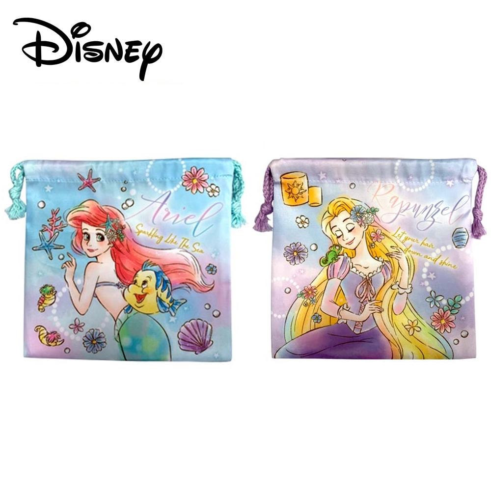 日本正版 迪士尼公主 抽繩束口袋 收納袋 束口袋 小物收納 小美人魚 長髮公主