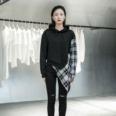 設計所在Style-設計師款韓版格子拼接短套頭衛衣