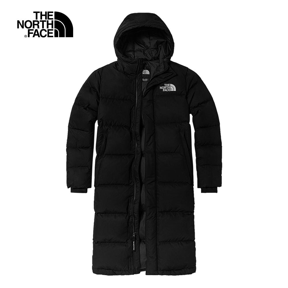 The North Face北面男女款黑色防風防潑水長版羽絨外套|4NEMJK3