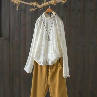 白色蕾絲花邊領襯衫寬鬆鏤空長袖內搭上衣-設計所在