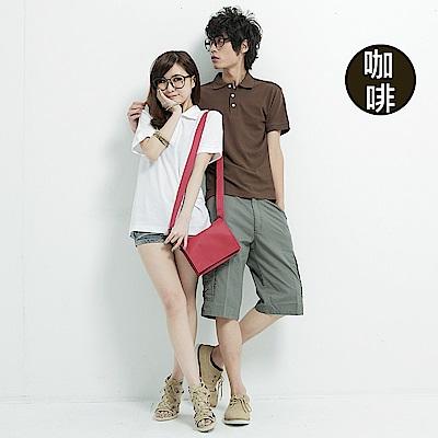 達邦 P0056情侶可穿/混搭短袖素面POLO衫-咖啡色系