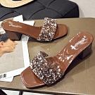 KEITH-WILL時尚鞋館 名媛愜意舒適粗跟拖鞋 咖啡