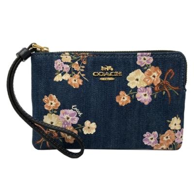COACH 新款花卉手拿包零錢包(單寧牛仔藍)