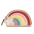 COACH NASA 繽紛彩虹鉚釘荔枝紋皮革零錢包-粉膚色