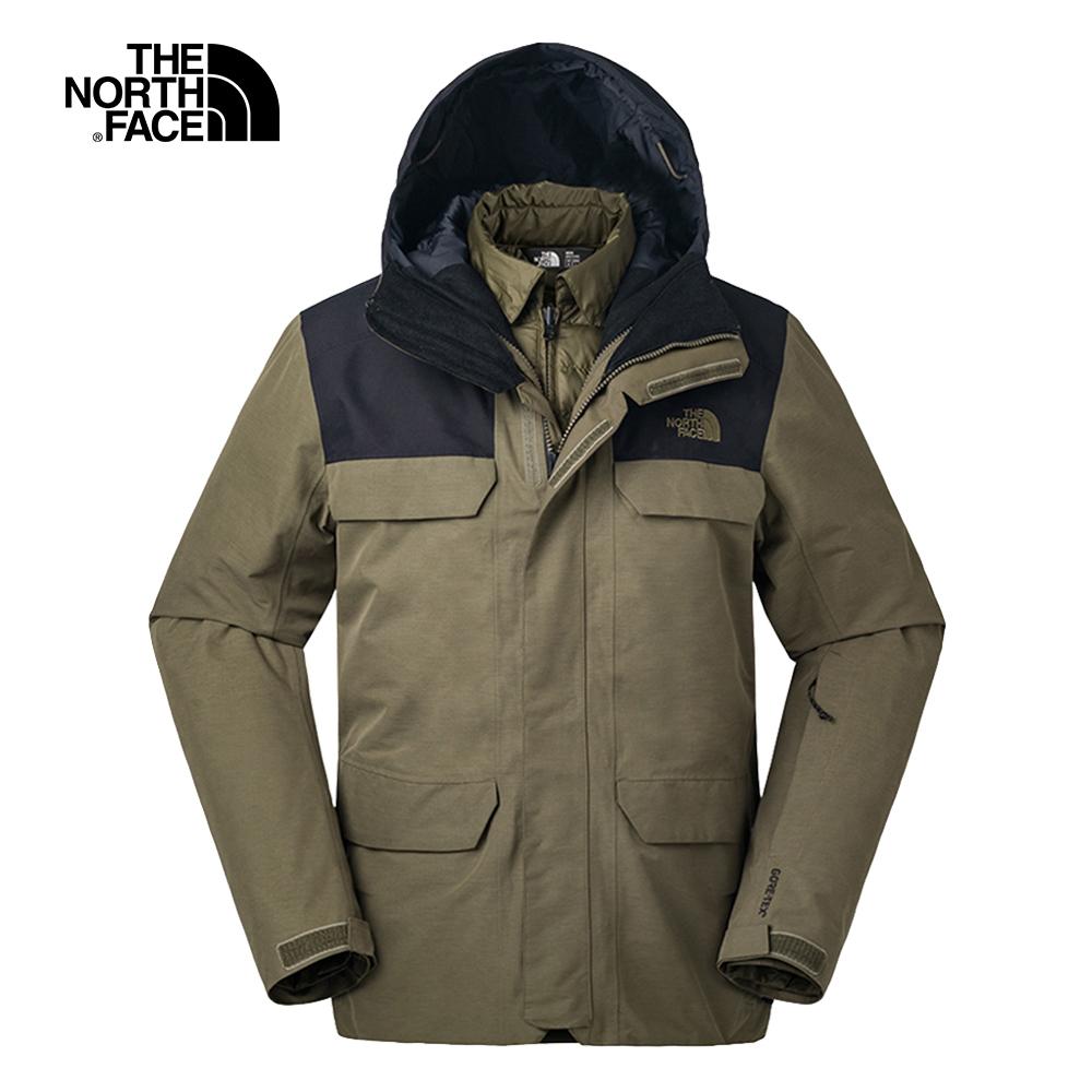 The North Face北面男款綠色防水保暖滑雪外套 3IFL1UV
