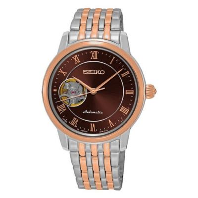 SEIKO 精工Presage 開芯女孩經典機械錶-咖啡雙色34mm(SSA852J1)