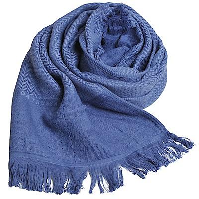 TRUSSARDI 貴族犬W水波紋字母LOGO長棉質圍巾(水藍色) @ Y!購物