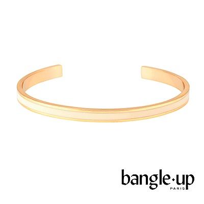 BANGLE UP 復古經典琺瑯鍍金開口手環 -白