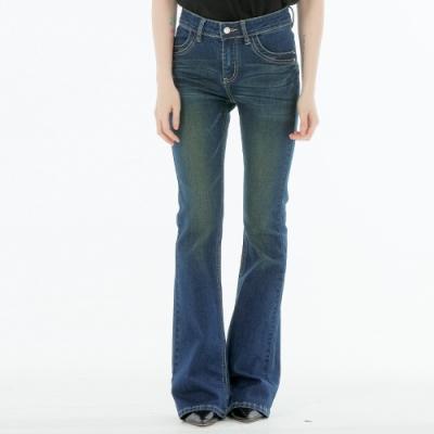 BIG TRAIN 中高腰彈性桃袋靴型褲-女-深藍