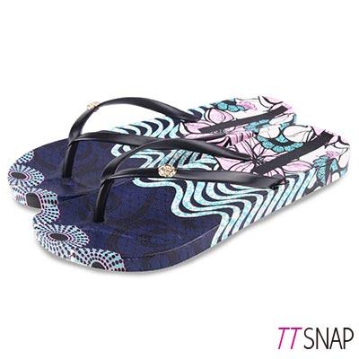 TTSNAP拖鞋-夏季海灘獨特花紋夾腳涼拖鞋 黑