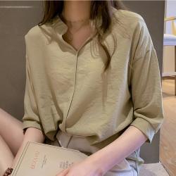 中大尺碼小立領素色無釦五分袖雪紡襯衫L~4L-Ballet Dolly