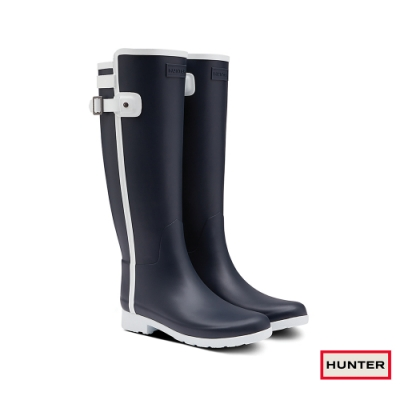 HUNTER - 女鞋 - Refined撞色拼接霧面長靴 - 藍