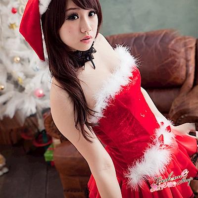 聖誕節服裝 露肩聖誕裝 澎澎洋裝聖誕服含聖誕帽 流行E線