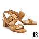 涼鞋 AS 簡約時髦異材質拼接全真皮後繫帶方頭高跟涼鞋-咖 product thumbnail 1