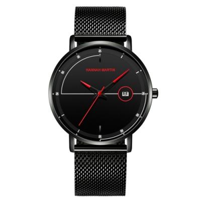 HANNAH MARTIN 羅密歐鑲鑽刻度設計米蘭帶男錶-紅指針/40mm