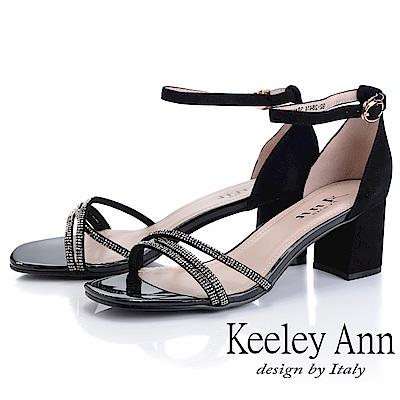 Keeley Ann細條帶 交叉繞帶水鑽真皮粗跟涼鞋(黑色-Ann系列)