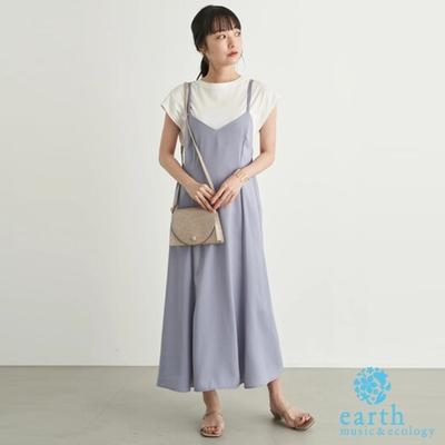 earth music 【SET ITEM】魚尾裙襬剪裁吊帶洋裝+純棉內搭上衣