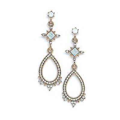 LOVER S TEMPO加拿大品牌 華麗復古水滴 水晶耳環 白色