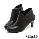 Miaki-踝靴時尚併色側拉鍊短靴(MIT)-黑