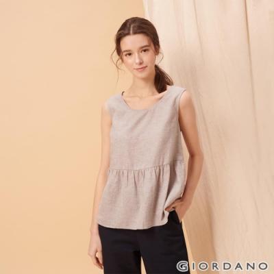 GIORDANO 女裝自然棉麻系列傘狀無袖上衣-02 淺灰