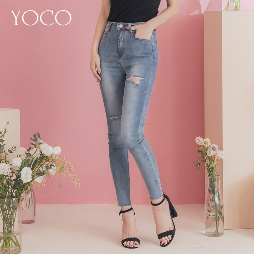 東京著衣-YOCO 時髦ONNI復古刷色割破褲管抽鬚牛仔長褲-S.M.L