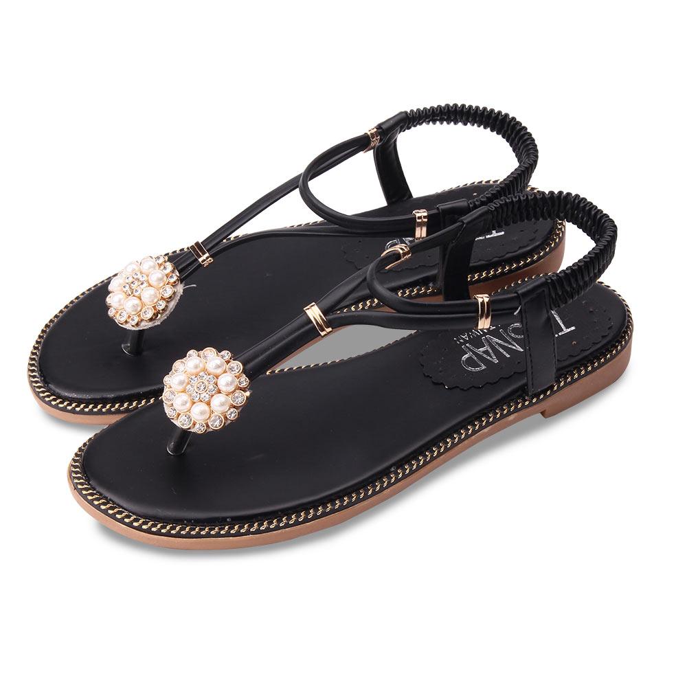 TTSNAP涼鞋-珍珠水鑽夾腳防水涼鞋 黑